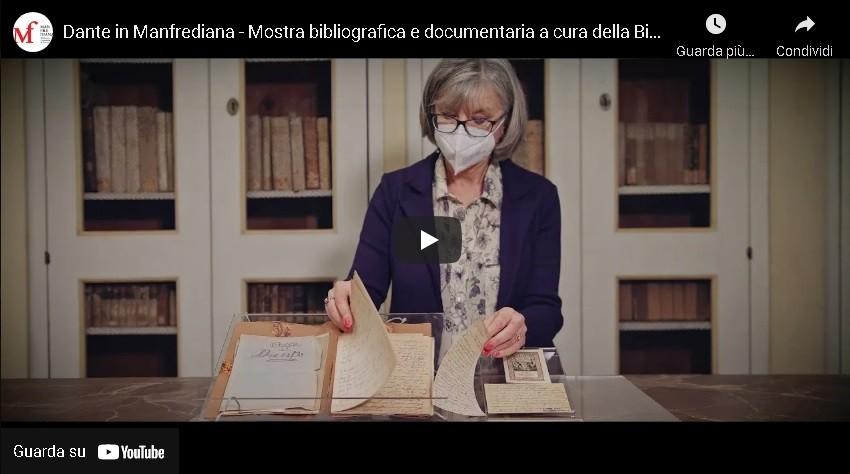 screenshot dal video dante in manfrediana - mostra bibliografica